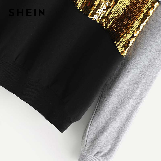 SHEIN Multicolor Contrast Cut and Sew Sequin Sweatshirt Casual Colorblock Long Sleeve Pullovers Women Autumn Sweatshirts 3