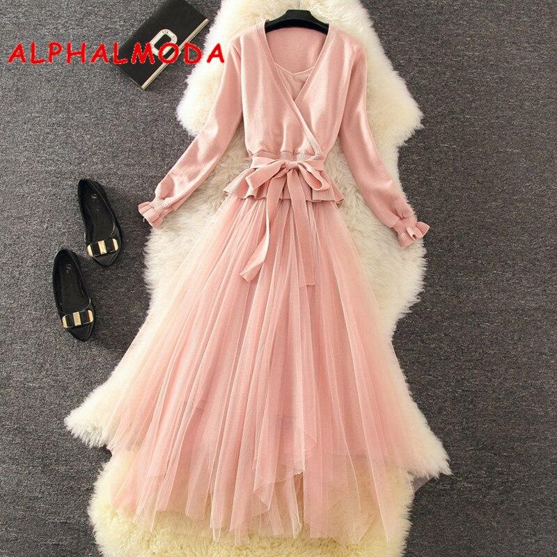 ALPHALMODA Autumn Graceful Sweater Dress 2pcs Sets V Collar Long Sleeve Sashes Jumper Outfit + Sling Dress Women 2pcs Sweet Suit