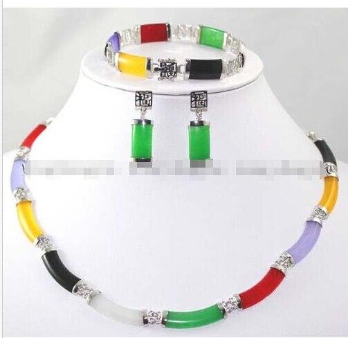Livraison gratuite nouveau style naturel noble bijoux>>>> multicolore pierre lien collier Bracelet boucles d'oreilles ensemble