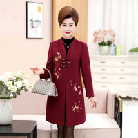 2019 Women Winter Coat embroidery Standing collar Loose Female Wool Cashmere Coats Elegant Fashion Fall Trench Coat XL 5XL YH371