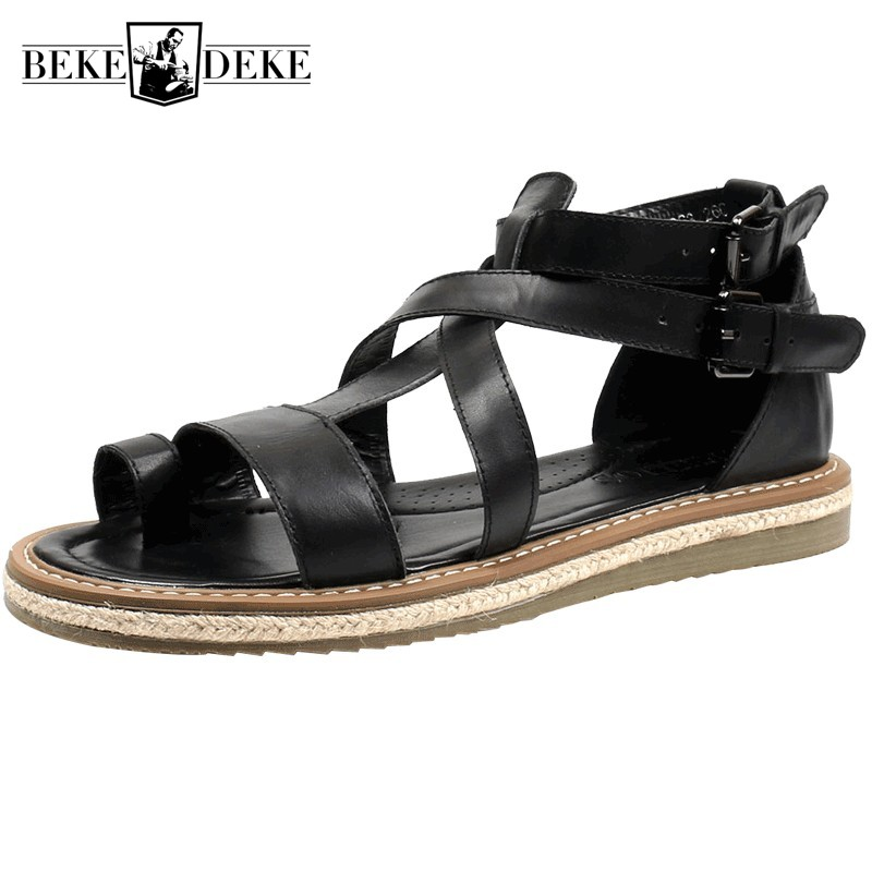 Japanese Men Summer Gladiator Sandals Plus Size Casual Open Toe Beach Sandals Slippers Vintage Double Buckle
