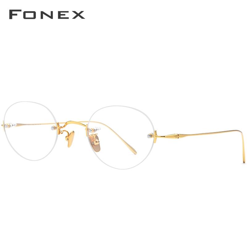 B Titanium Rimless Glasses Frame Women Prescription Eyeglasses Myopia Optical Frames Men 2019 New Vintage Retro Oval Eyewear in Women 39 s Eyewear Frames from Apparel Accessories