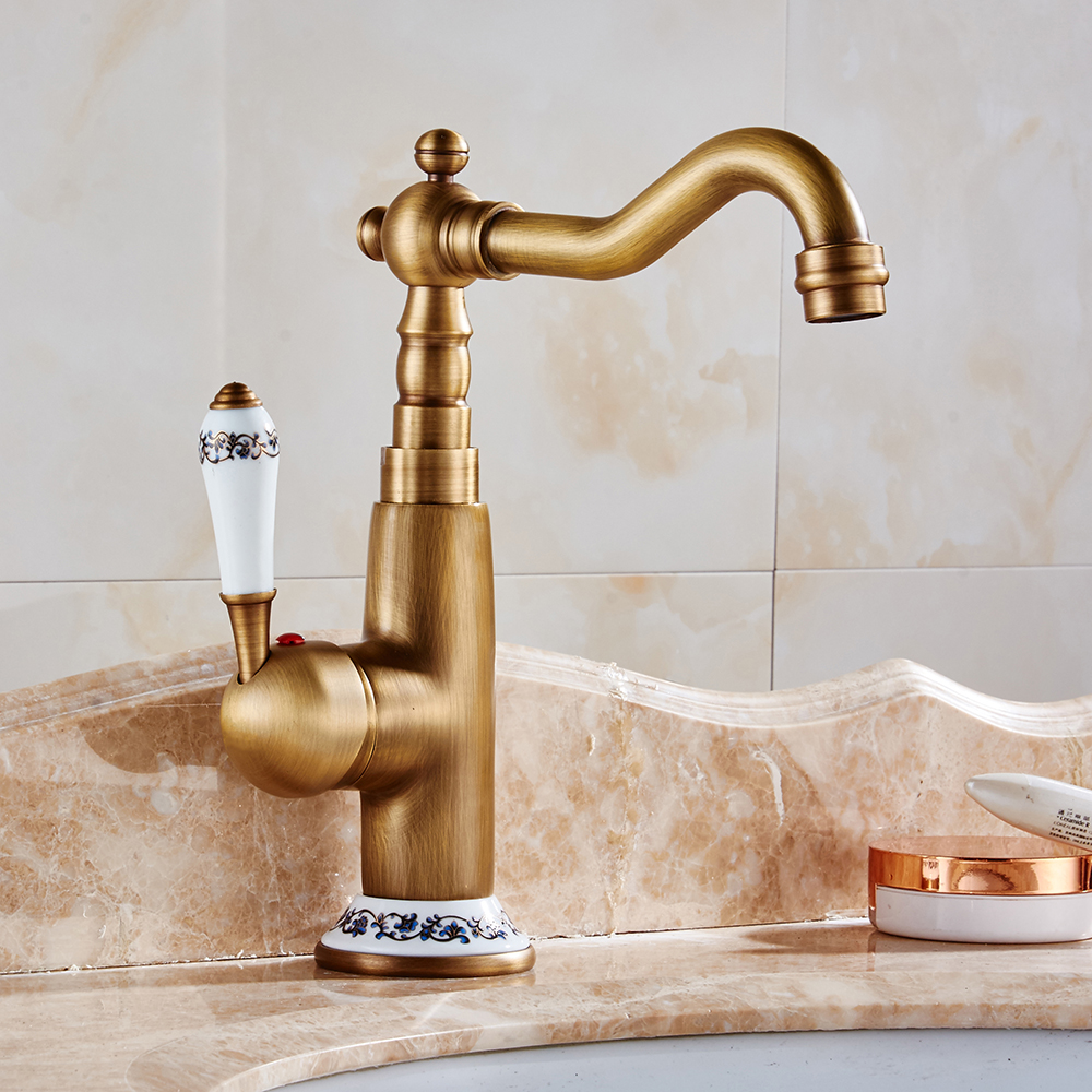 Basin Faucets Antique Brass Sink Faucet Single Handle Bathroom Basin ...