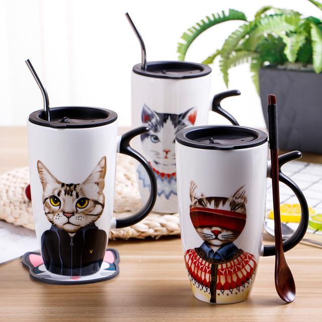Mugs Us16 Friendly With Spoon Cartoon Coffee Print Wholesale Lid High For Eco bearpaw 45Off Dropshipping In Original Capacity Cats 5 Ceramic OiPuTXZk