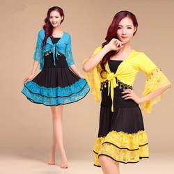 Квадратный Танцевальный костюм Танцы ткань для весны и лета Кружево топ и юбка 3 шт. за пределами Топ и внутри топ и юбка vl-gc001