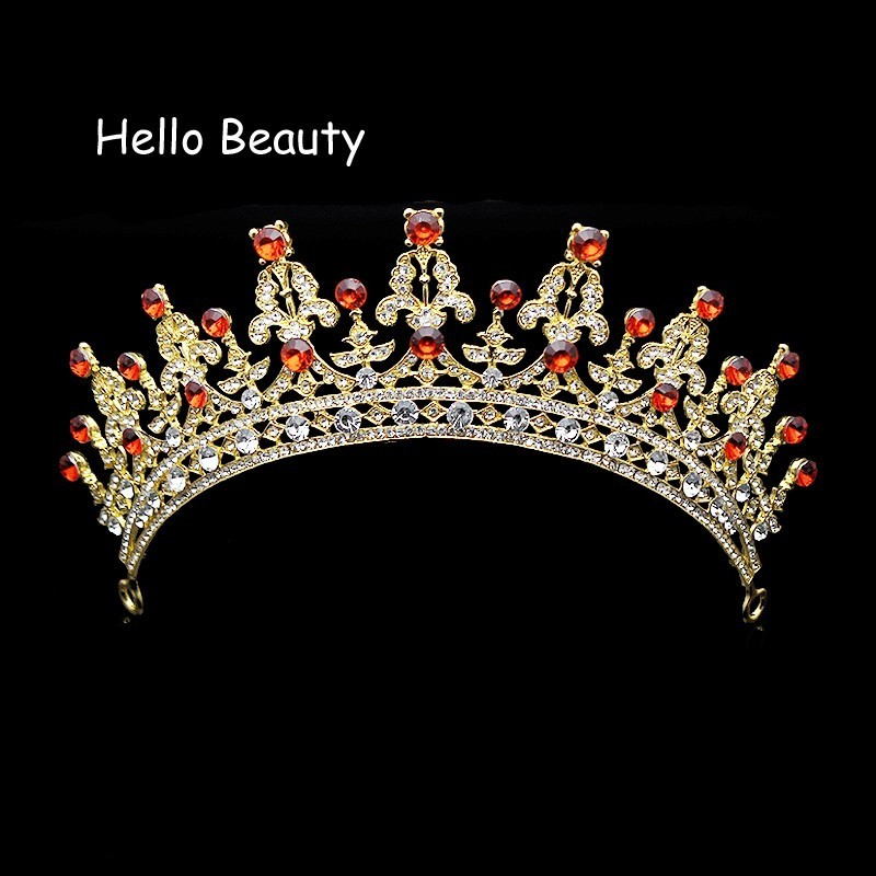 Vintage Gold And Red Crystal Wedding Imperial Medieval Tiara Rhinestone Pageant Bridal Crown Prom Princess Bride Hair Jewelry