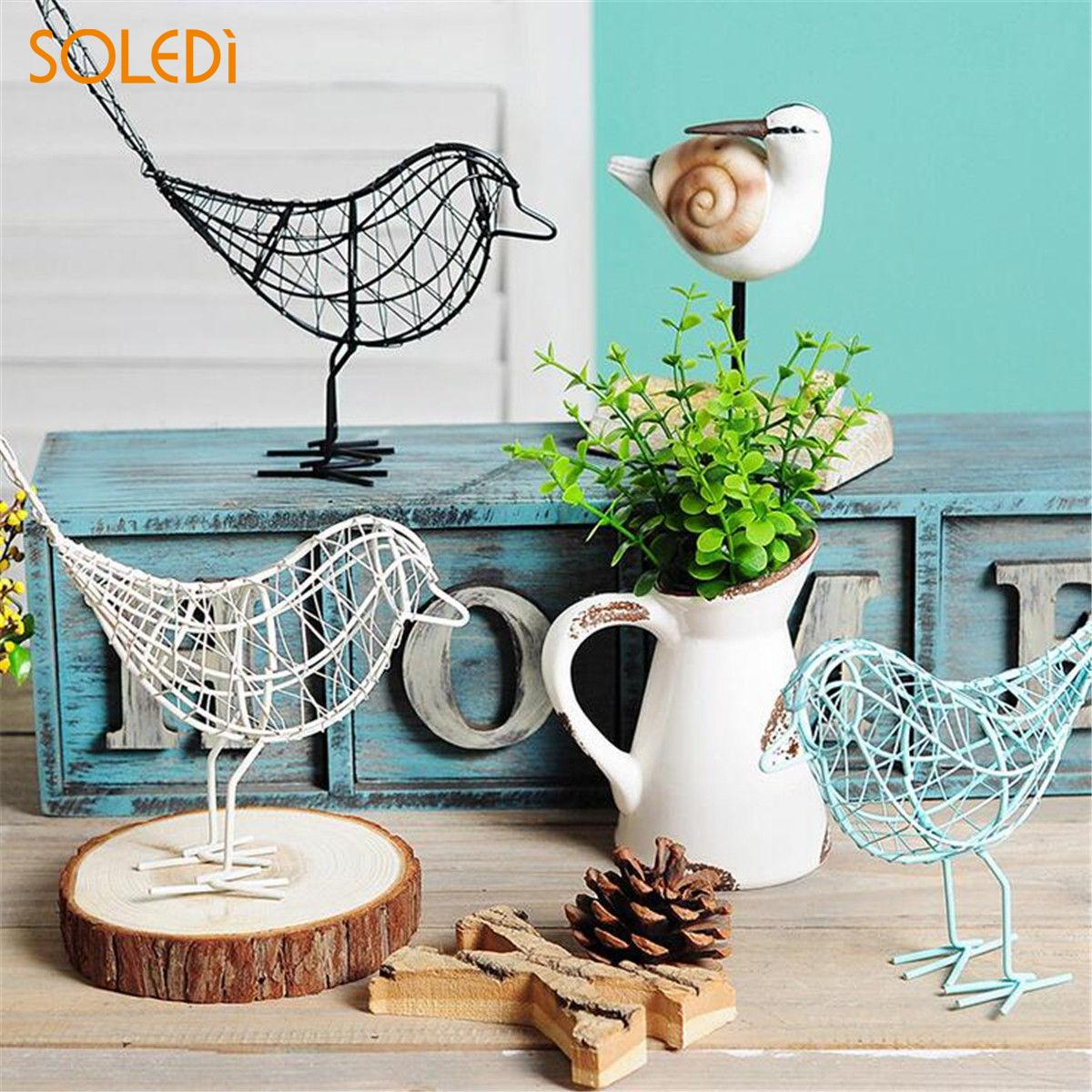 Fashionable Metal Wire Iron Bird Craft Iron Wire Bird Beautiful Iron White/Black/Blue Decoration Gift Office Desktop Ornament