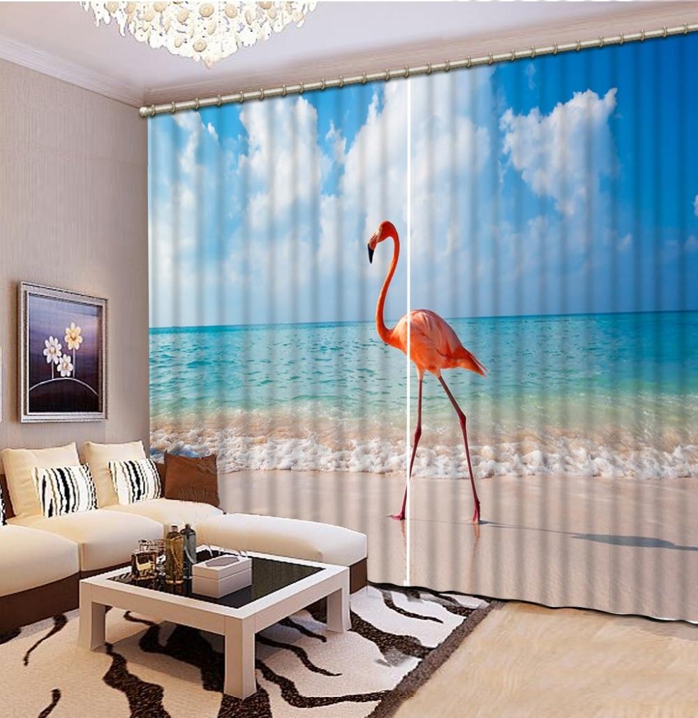 Usine diret vente mode 3d rideaux fenêtre chambre plage oiseau décoration de la maison 3d rideaux
