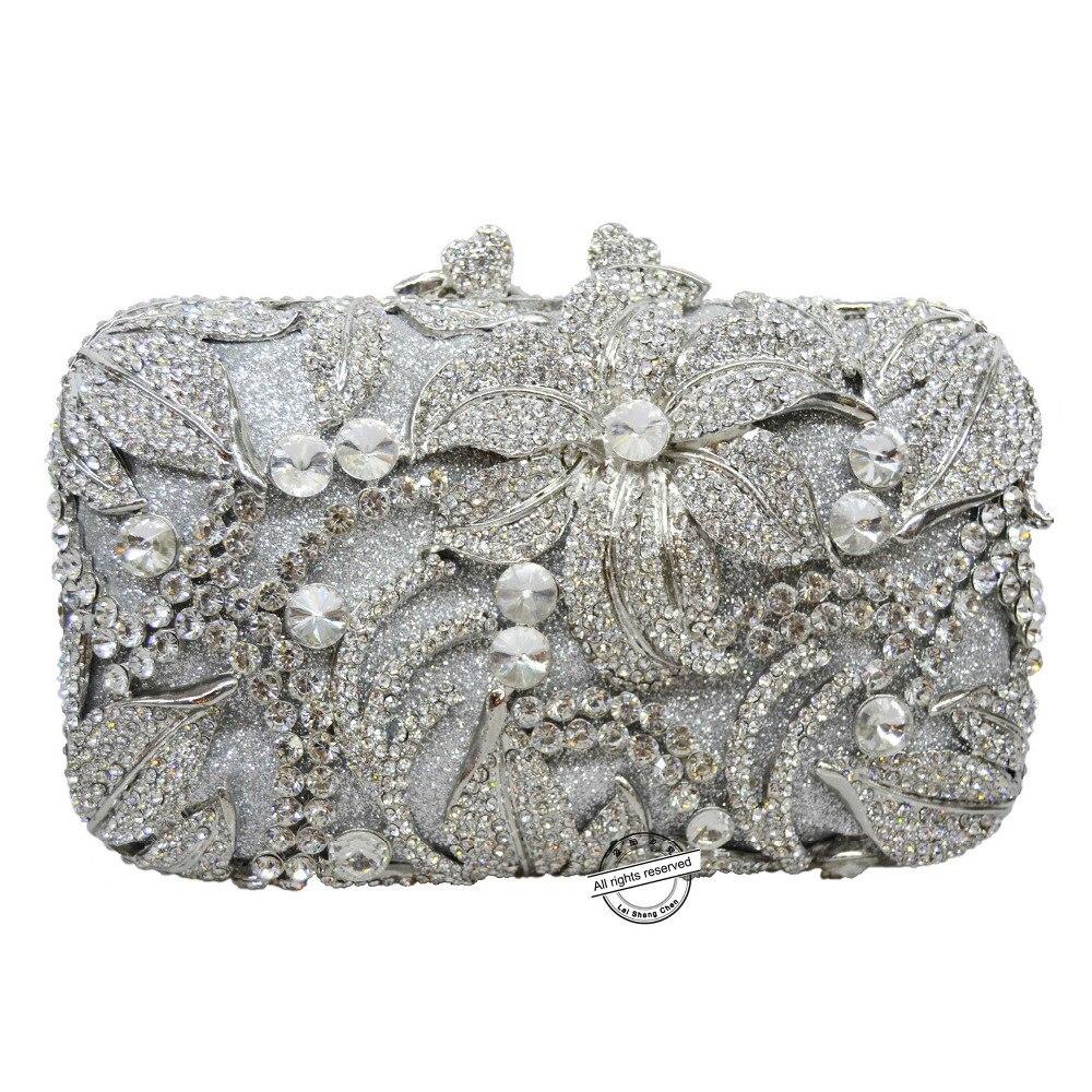 Bagaj ve Çantalar'ten Üstten Saplı Çanta'de Çiçek şekli çivili elmas el çantası Lüks kadın kristal akşam çanta balo debriyaj çanta düğün çantası kesesi poşet Çanta SC126'da  Grup 1