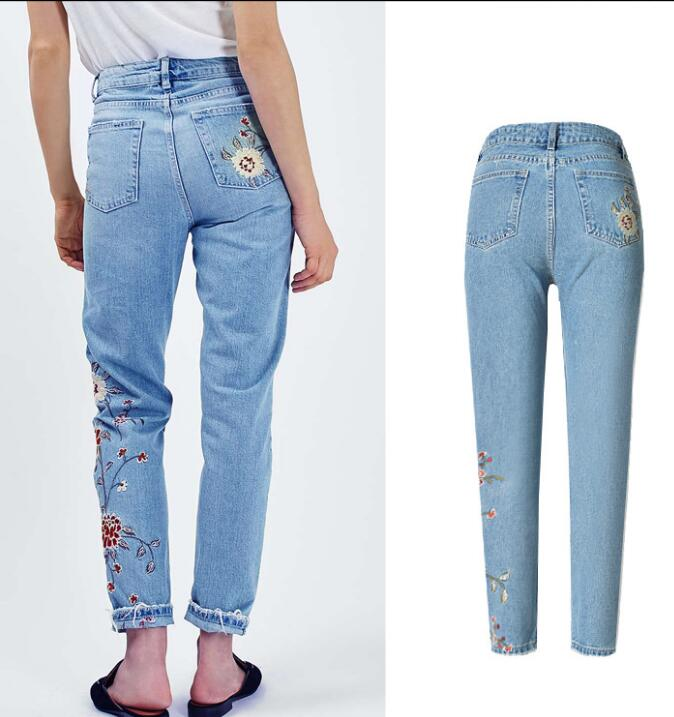 European style flower embroidery denim pencil pants fashion woman's   high-waist ankle-length jeans ballistic nylon tools bag for tools storage 280x245x180mm