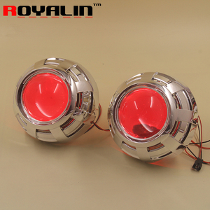 Image 1 - ROYALIN Car Styling 3.0 Bi Xenon H1 Projector Lens Metal Holder LHD RHD for Apollo 3.0 Shrouds w/Devil Eyes for H4 H7 Auto Lamps