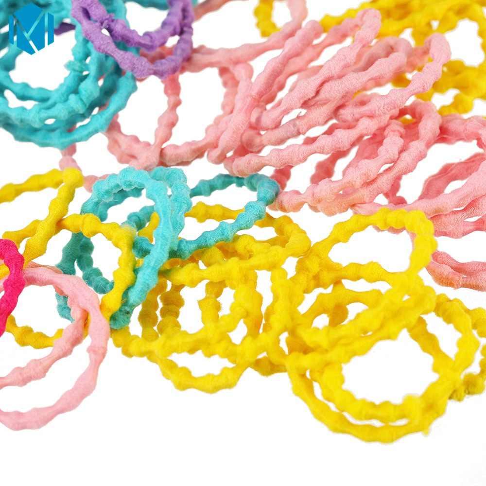 Модные 100 шт./лот Девушки Конфеты цветной каучук ленты дети резинки для волос хвост держатель дети резинка для волос аксессуары для волос