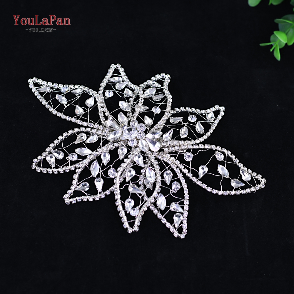 YouLaPan HP248 Luxury Sliver Big Flower Headband Crystal Women Jewelry Tiara Handmade Headpieces Wedding Party Hair Accessories