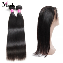 Meetu Malaysian Straight Hair 2 Bundles With 360 Lace Frontal With Baby Hair Pre Plucked Non-remy Human Hair Bundle With Closure