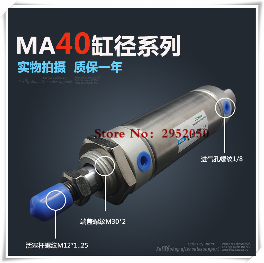 Free shipping Pneumatic Stainless Air Cylinder 40MM Bore 175MM Stroke , MA40X175-S-CA, 40*175 Double Action Mini Round Cylinders high quality double acting pneumatic gripper mhy2 25d smc type 180 degree angular style air cylinder aluminium clamps