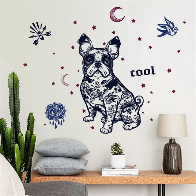 brixini.com - Removable Cartoon Bulldog Wall Sticker