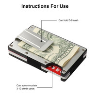 Mini slim wallet with money clip fashion business credit card ID holder solid anti-chief case protector #YL5 4