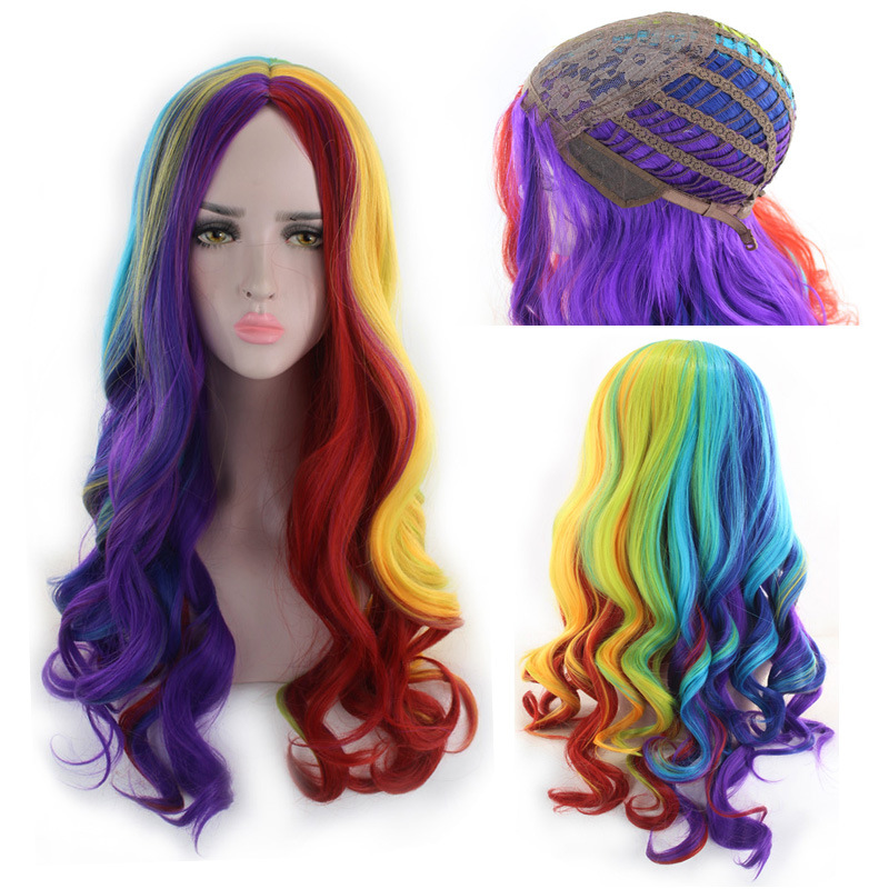 High Quality Harajuku Lolita Long Wavy Rainbow Wig With Bangs Synthetic Hair Cosplay Costume Party Colored Wigs For Women 65cm in Holidays Costumes from Novelty Special Use