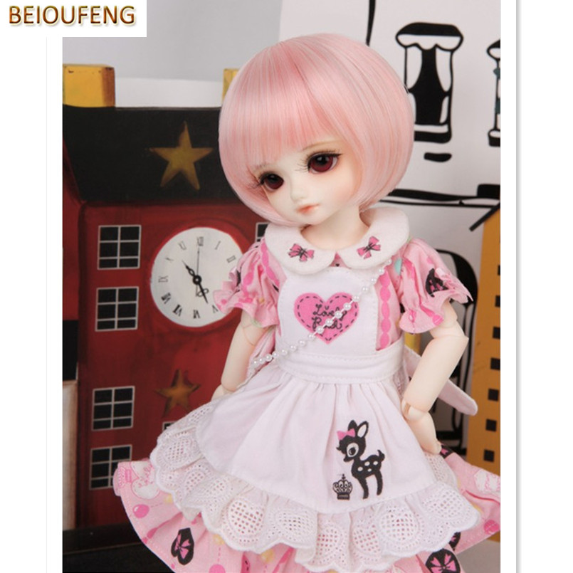 BEIOUFENG 1/6 SD BJD Doll Wigs High Temperature Wire Short Straight BJD Wig,Synthetic Doll Hair 1/6 Scale Accessories for Dolls стоимость