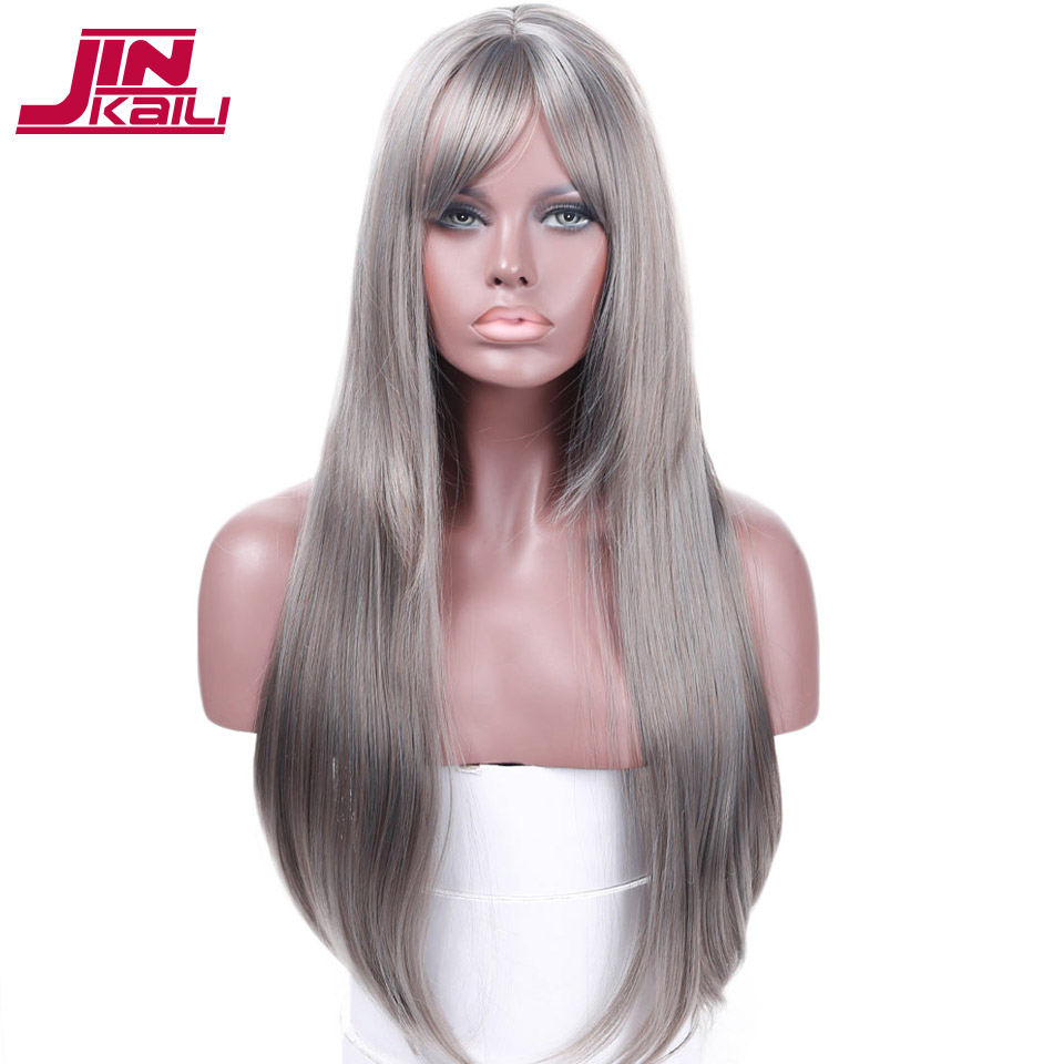 JINKAILI WIG Long Staight gray Black Wigs with Bangs Heat Resistant Synthetic Hair Wig Long Cosplay Wig