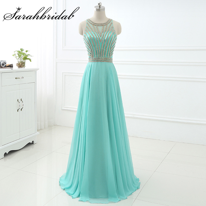 Aqua Long Evening Dresses Cheap In Stock Real Photos Beaded Jewel Neck A Line Prom Party Gowns Floor Length Chiffon LX411