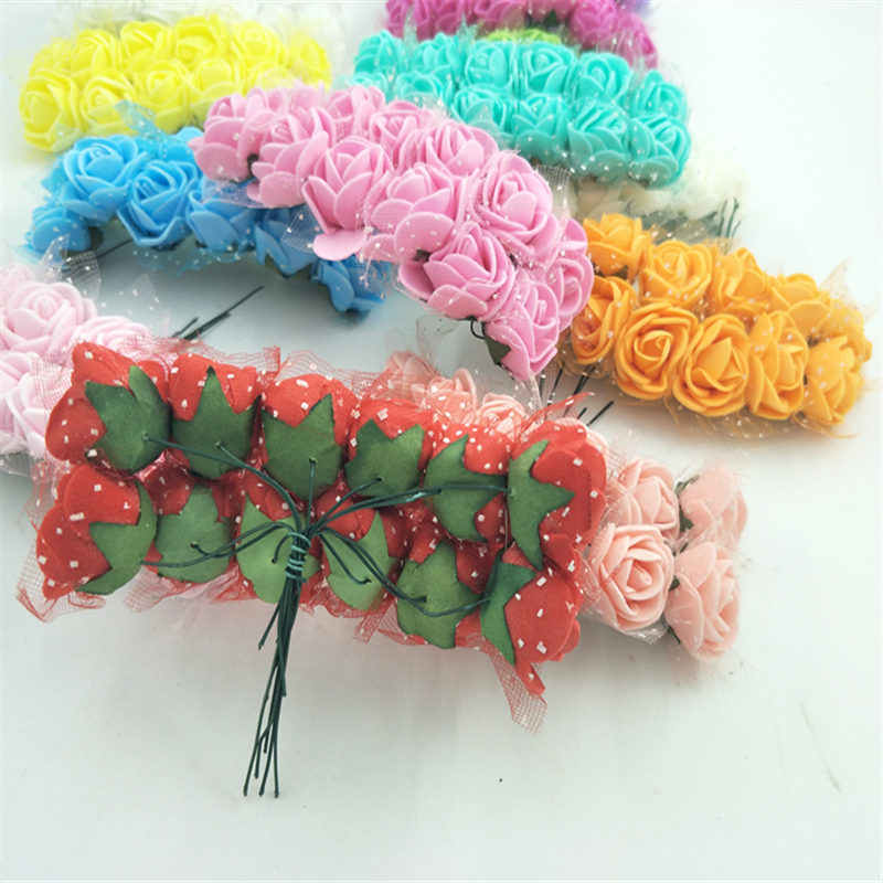 12pcs Cheap free shipping DIY mini roses artificial flowers lace wedding flower decoration flower foam hand ring material
