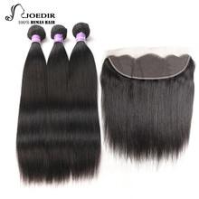 Волосы для волос Joedir Pre-colored 100% Remy для волос с закрытием Малайзия Прямые волосы 3 комплекта с кружевным закрытием