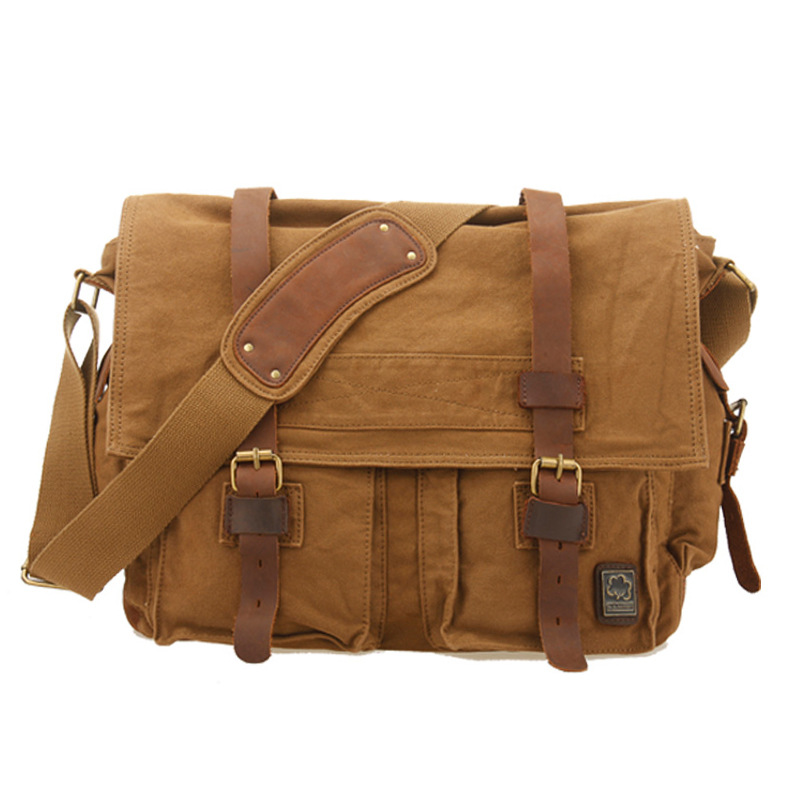 Vintage Genuine leather Men Handbags Canvas Messenger Bags Men Military Leather Crossbody Shoulder Bag Casual Laptop Travel Bags augur fashion men s shoulder bag canvas leather belt vintage military male small messenger bag casual travel crossbody bags