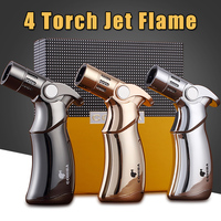 COHIBA Refillable Gun Style Butane Gas Table Lighters Windproof 4 Torch Jet Flame Metal Cigar Lighter with Gift Box