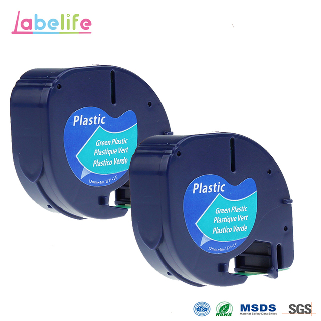 Labelife 2 Pack Letratag Ribbon Black On Green 91204 Compatible Dymo