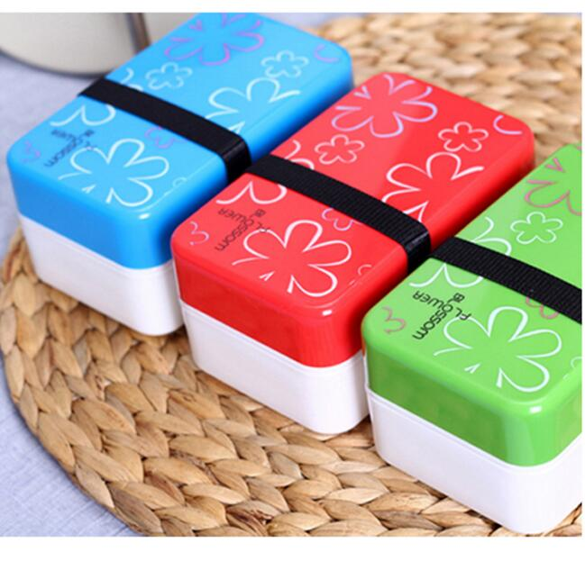 cute flower pattern lunch box double layer plastic bento. Black Bedroom Furniture Sets. Home Design Ideas