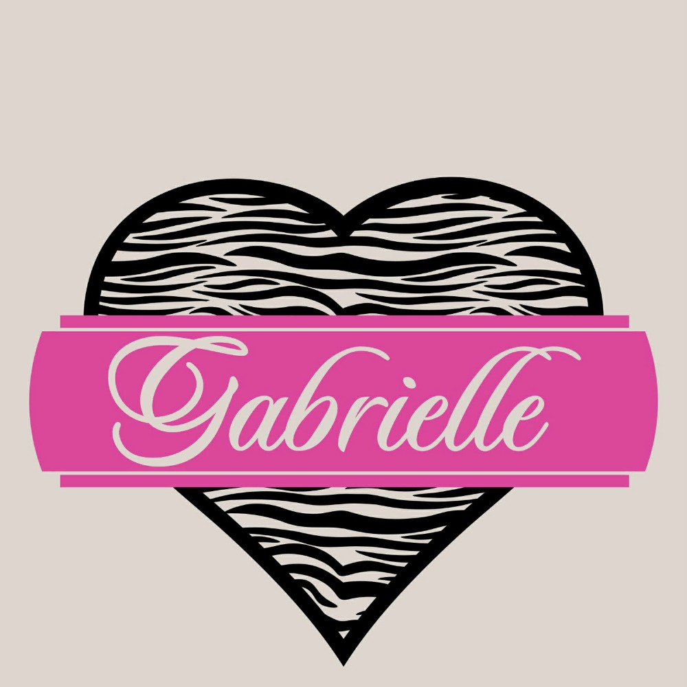 Personalized Zebra Print Heart Custom Any Name Vinyl Wall Art Stickers Home Decal  Sticker Size 22x28inches
