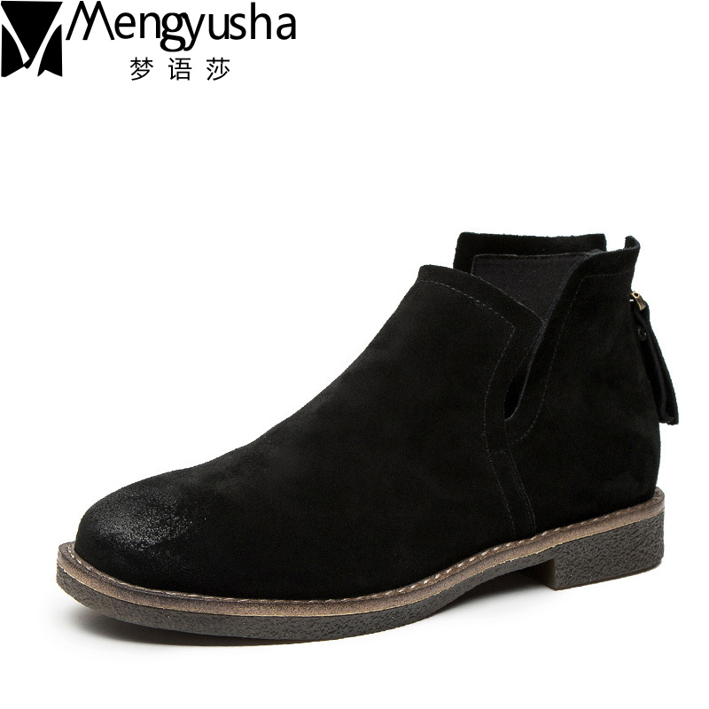 HOT Vintage Shoes Women Retro Chelsea Boots Handmade Ankle Boots Flat Boots Real Genuine Nubuck Leather Martin Boots Women Shoes tastabo handmade ankle boots martin flat boots 100% real genuine leather shoes retro winter snow boots botines mujer women shoe