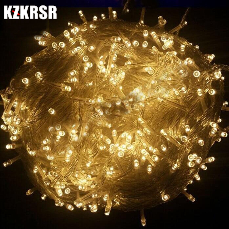KZKRSR AC110V /220V 10m 20m 30m 50m 100m Outdoor Waterproof Led string Light for Christmas Tree Wedding Party Garland Decoration 50m waterproof solar powered led string light wireless outdoor decoration for christmas tree party street roof