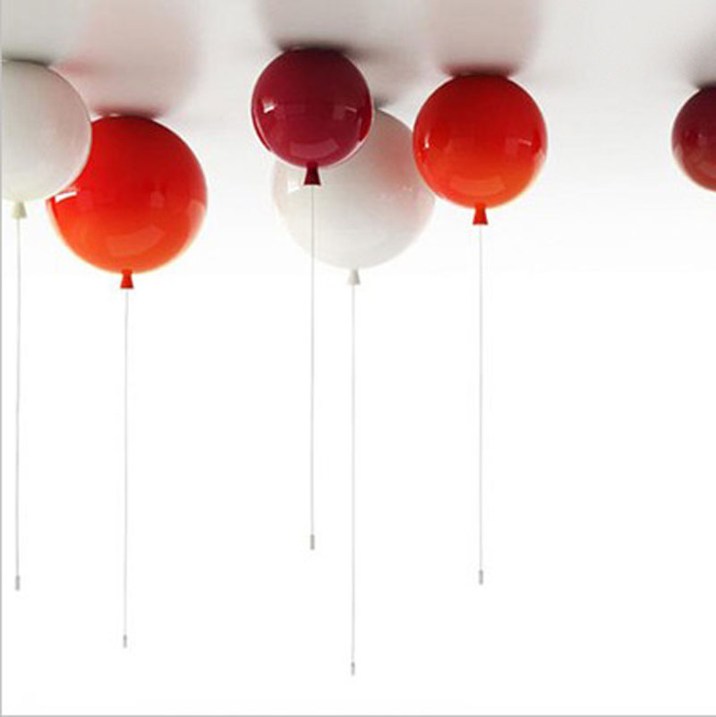 Dia 25cm 6 Colors Balloon Acrylic Pendant lamp rope wire switch kitchen bar bedroom modern decor led ball chandelier ceiling ...