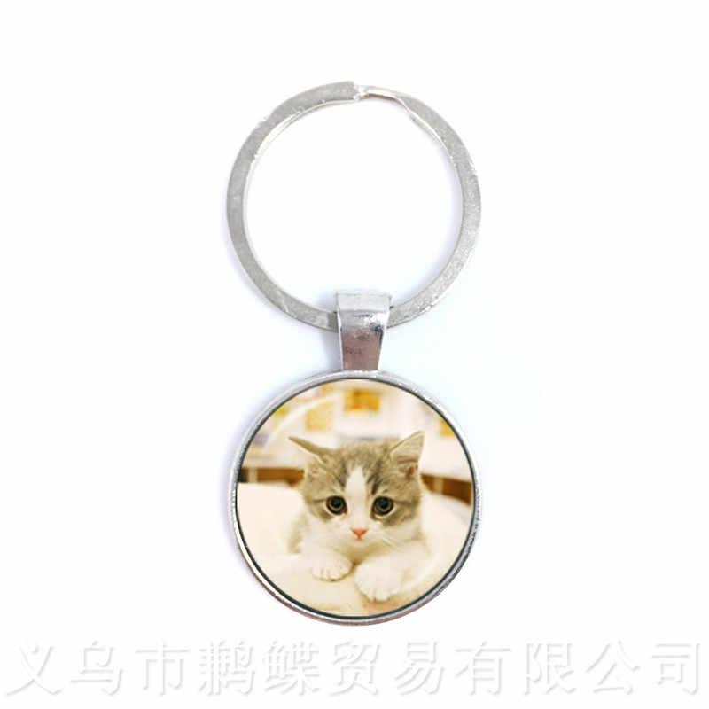 Kedi desenli yuvarlak cam kubbeli anahtarlıklar hayvan desen serisi kolye kedi Lover yaratıcı hediye el yapımı moda anahtarlık