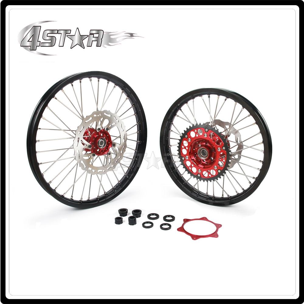 Мотоцикл обода колеса ступицы комплект 1.6*21 1.85*19 для Honda CRF250R CRF450R CRF250R ОФД 450р 2015 2016 2017