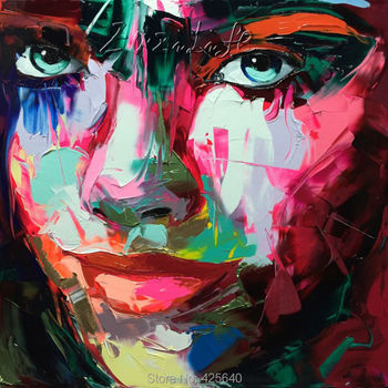 Palette knife painting portrait Palette knife Face Oil painting Impasto figure on canvas Hand painted Francoise Nielly 15-49