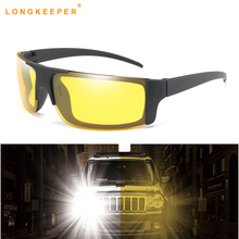 Longkeeper Night Vision Sunglasses Men Classic Brand Fashion Rimless Polarized Yellow Lens Glasses Drivers Square Goggles