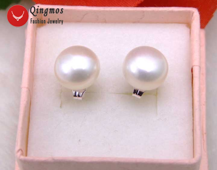 Qingmos White Freshwater Pearl Earrings for Women with 7-8mm Flat Round Natural Sterling Silver Stud Earring Fine Jewelry ear181
