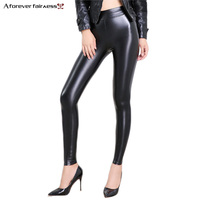 A Forever 2017 Hot Winter PU Leggings For Women High Waist PU Leather Black Slim Leggings