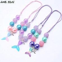 ff37d6919354 ¿MHS  sol de moda de cola de sirena colgantes chicas grueso collar de  perlas ajustable cuerda niño niños grueso Bubblegum collar.