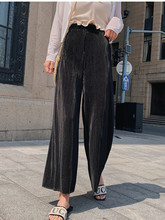 JUJULAND woman pants straight pants Pleated ankle-length  pants High-waisted stretch pants  856 ankle length pleated pants