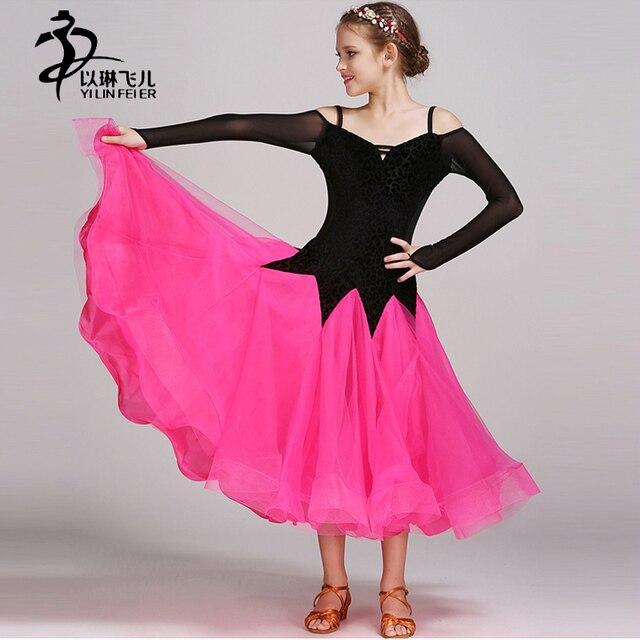 Хит Цвет плотно современный Танцы платье этап конкурса костюм Дети Стандартный Костюмы для бальных танцев Детская Танцы платья девушки Танцы одежда