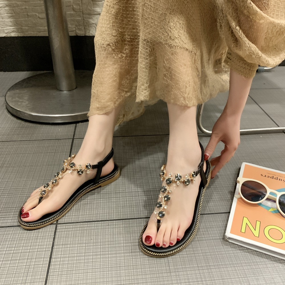HTB1OkK6MbrpK1RjSZTEq6AWAVXas Rhinestone Sandals Women Sandals Fashion Summer Shoes Women Rome Gladiator Casual flats Sandals Beach Shoes Female Zapatos #730