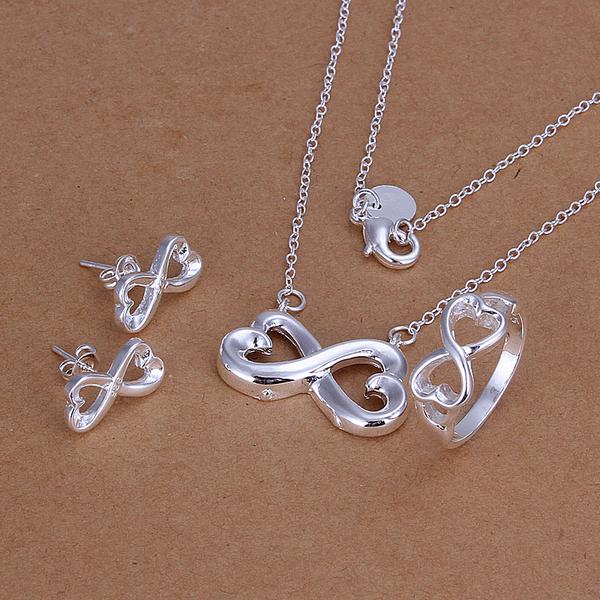 NICE women 925 stamped silver plated jewelry set fashion love double heart lucky 8 Infinite necklace bracelet ring Earring SET