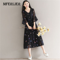 Mferlier Floral Print Summer Women Dress Plus Size M 5XL Black Casual V Neck Flare Sleeve
