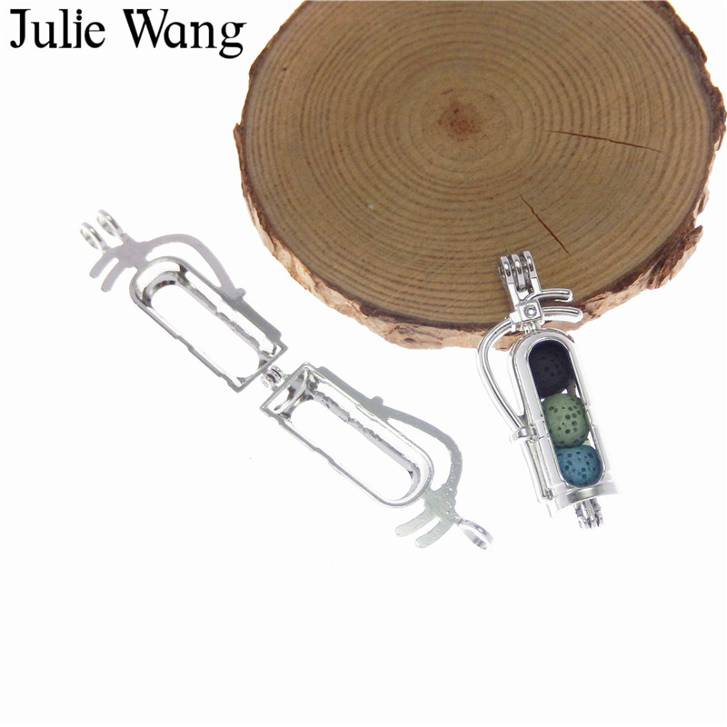 Julie Wang 1PCS Alloy White K Fire Extinguisher Essential Oil Diffuser Locket Fit 8mm Beads Necklace Pendants Perfume Jewelry