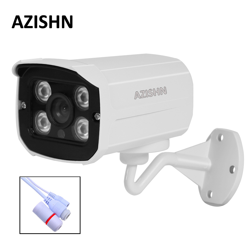 AZISHN IP Camera H.264 FULL HD 1080P 2MP onvif HI3518E 4pcs Array IR LEDS Surveillance metal IP66 Outdoor CCTV DC 12V/48V PoE