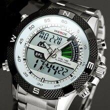 Новинка 2017 года WEIDE Для мужчин часы LED Дисплей часы Нержавеющая сталь кварцевые Подсветка Часы спортивный мужской Relogio masculino де Luxo Saat
